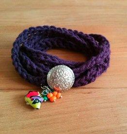 Paarse wikkelarmband (mama)