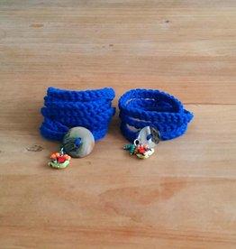 Kobaltblauwe wikkelarmbandjes (mama&dochter)