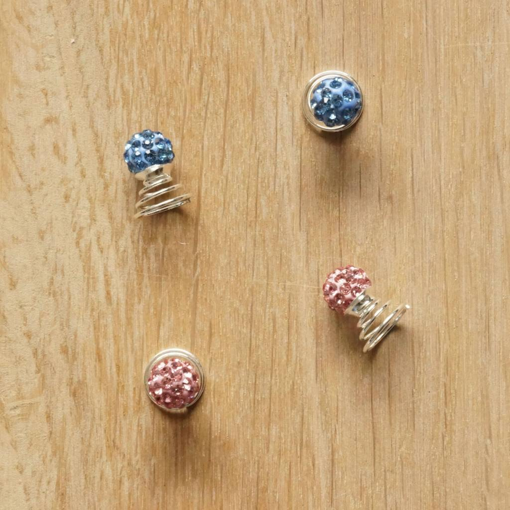 Haarspiraaltjes met glitters roze/blauw