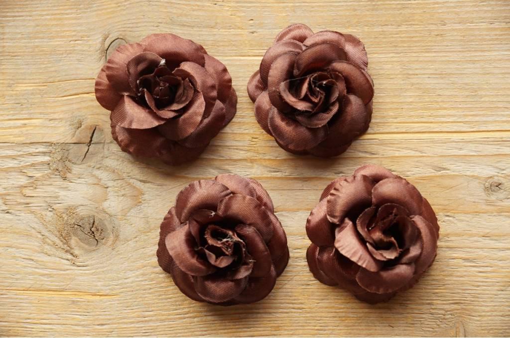 Chocoladebruine bloemetjes (4x)