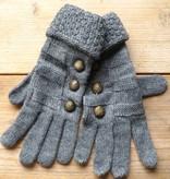 Grijze handschoenen met knoopjes