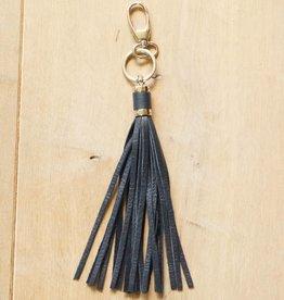 Donkerblauwe hanger met franje