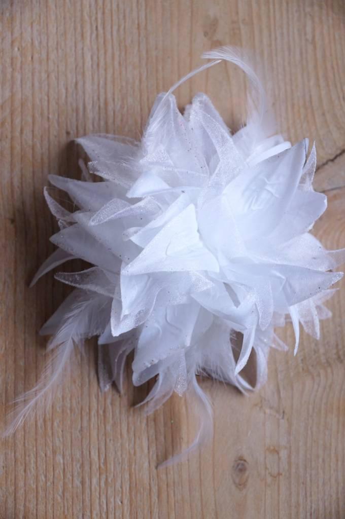 Witte bruidscorsage met blaadjes en veertjes