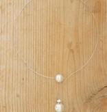 Fijne beugelketting met witte parel