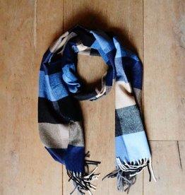 Herensjaal blauw/bruin