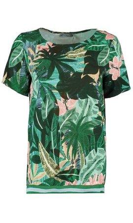 Geisha - T-Shirt groen met roze dessin