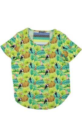 Geisha - T-Shirt groen met geel 93187-20