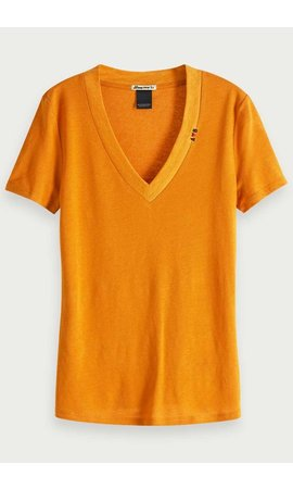 SCOTCH & SODA - Basic T-shirt met V-Hals Oker