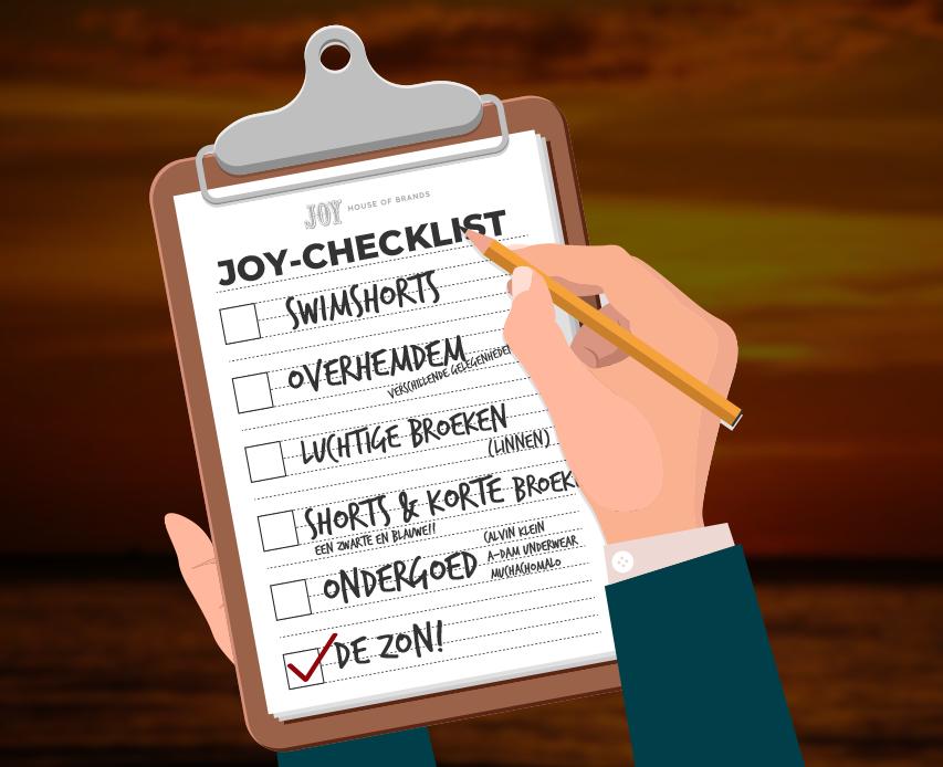 Dé Boys Joy-Vakantie Checklist!