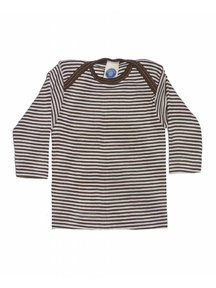 Cosilana Baby Shirt Wool / Silk Striped - brown