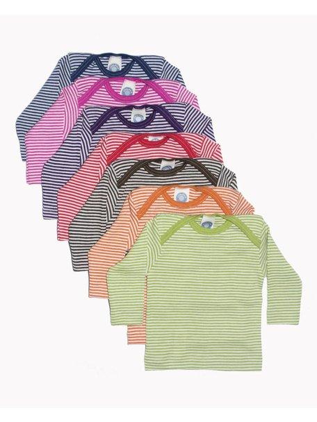 Cosilana Shirt van wol/zijde gestreept - groen