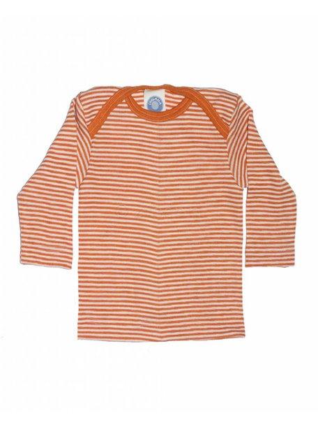 Cosilana Shirt van wol/zijde gestreept - oranje