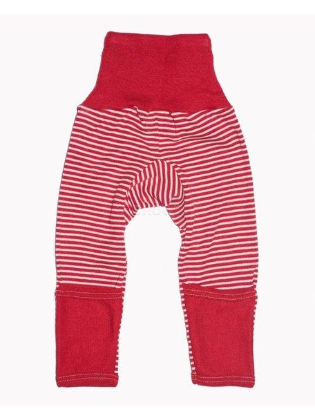Cosilana Broekje met omslag pijpjes van wol/zijde gestreept - rood