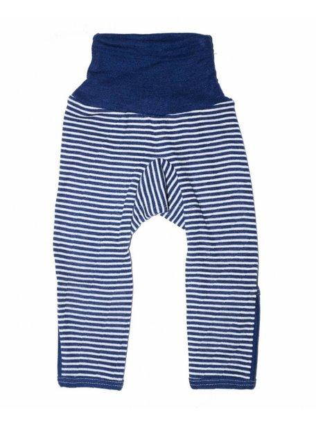 Cosilana Broekje met omslag pijpjes van wol/zijde gestreept - blauw
