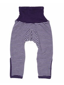 Cosilana Baby Trousers With Scratch Protection Wool / Silk - purple Striped