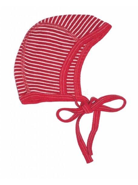 Cosilana Strikmutsje gestreept van wol/zijde - rood