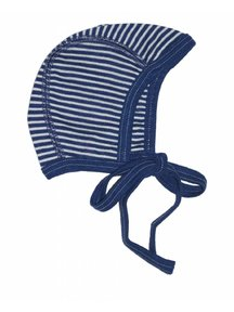 Cosilana Baby Bonnet Wool / Silk Striped - Blue