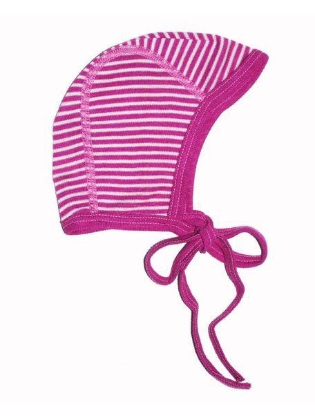Cosilana Strikmutsje gestreept van wol/zijde - roze