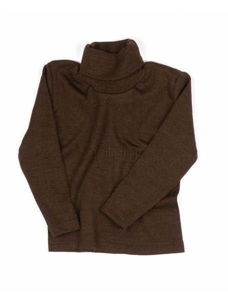 Cosilana  Kindershirt met colletje wol/zijde - bruin