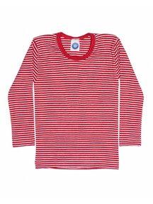 Cosilana Kindershirt gestreept van wol/zijde - rood