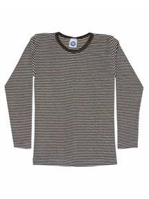 Cosilana Kindershirt gestreept van wol/zijde - bruin