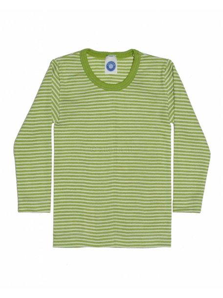 Cosilana Kindershirt gestreept van wol/zijde - groen