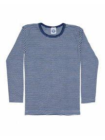 Cosilana Kindershirt gestreept van wol/zijde - blauw