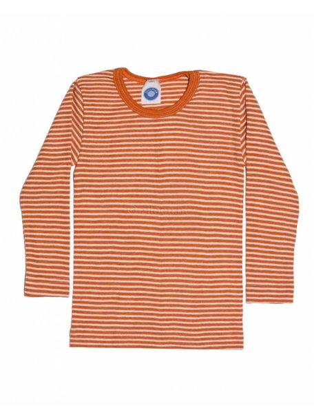 Cosilana Kindershirt gestreept van wol/zijde - oranje