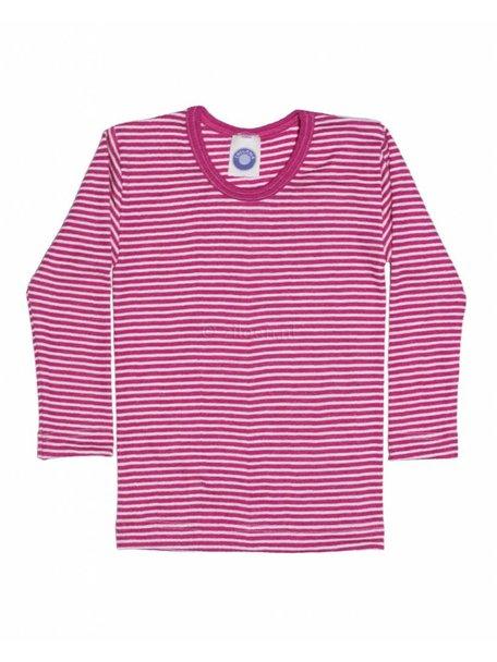 Cosilana Kindershirt gestreept van wol/zijde - roze