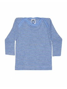 Cosilana Baby Top Wool/Silk/Cotton Striped - Blue/Brown