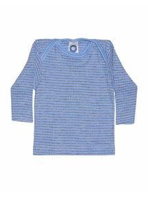 Cosilana Shirt van wol/zijde/katoen gestreept - blauw/bruin