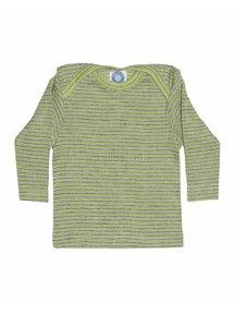 Cosilana Shirt van wol/zijde/katoen gestreept - groen/paars