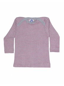 Cosilana Baby Top Wool/Silk/Cotton Striped - Grey/Pink