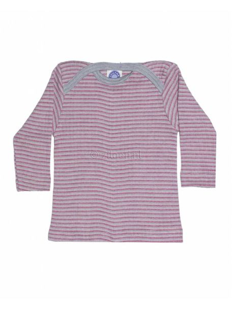 Cosilana Shirt van wol/zijde/katoen gestreept - grijs/roze