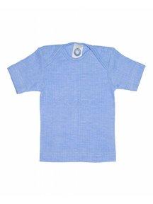 Cosilana Shirt met korte mouwen van wol/zijde/katoen - blauw