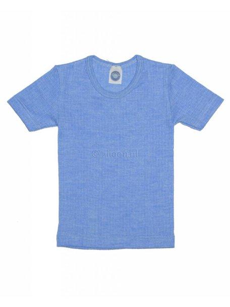 Cosilana Kindershirt korte mouwen van wol/zijde/katoen - blauw