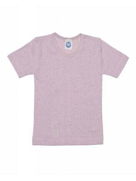 Cosilana Kindershirt korte mouwen van wol/zijde/katoen - roze