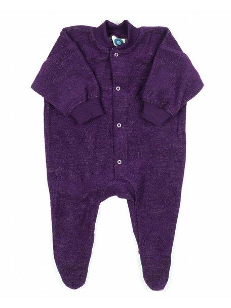 Cosilana Pyjamapak van wol met voetjes - paars