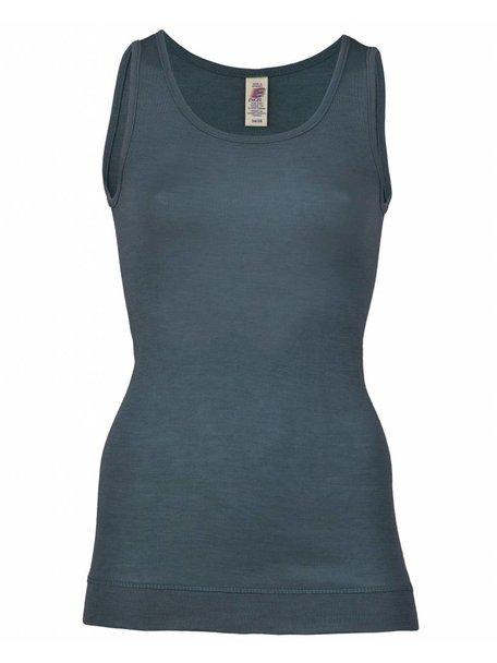 Engel Natur Dames hemd extra lang wol en zijde - blauw