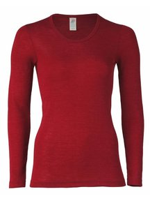 Engel Natur Dames longsleeve wol/zijde - rood