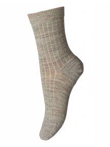 MP Denmark Wollen rib sokken - zand