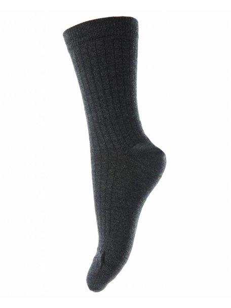 MP Denmark Wollen rib sokken - antraciet