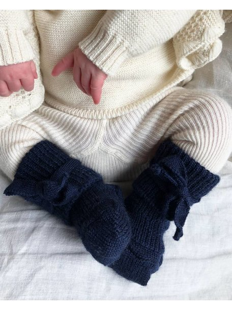 Hirsch Natur Wollen newborn sokjes - donkerblauw