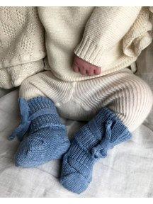 Hirsch Natur Wollen newborn sokjes - lichtblauw