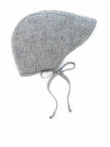 Briar Handmade Linen Brimmed Bonnet - natural stripe