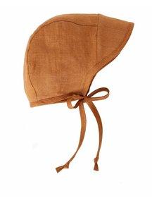 Briar Handmade Linen Brimmed Bonnet - rust