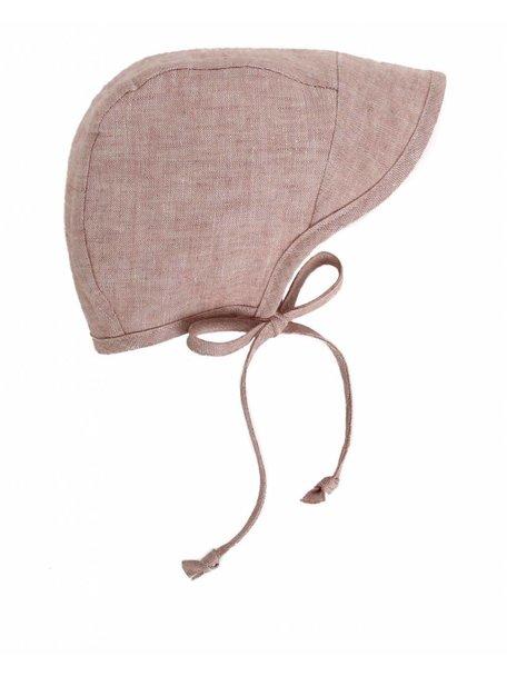 Briar Handmade Linnen bonnet met kapje - blush