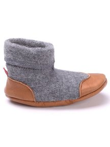 Cami Woolen Booties Leather Sole - grey