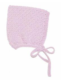 Soof Mutsje met honinggraat motief van alpaca/zijde - roze