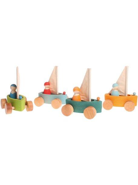 Grimm's Zeilboot met poppetje in set van vier